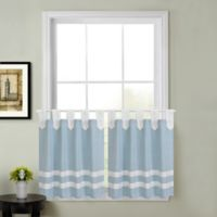 Acadia Striped 45-Inch Kitchen Window Curtain Tier Pair in Aqua