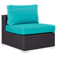 Modway Convene Outdoor Patio Armless Chair in Espresso/Turquoise