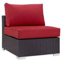Modway Convene Outdoor Patio Armless Chair in Espresso/Red