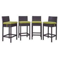 Modway Convene Patio Pub Chair in Espresso/Peridot (Set of 4)