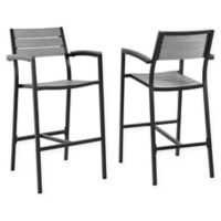 Modway Maine All-Weather Patio Bar Stools in Brown/Grey (Set of 2)
