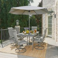 Home Styles Daytona 9-Piece Rectangular Table with Swivel Chairs and Umbrella in Charcoal Grey