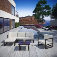 Modway Fortuna 6-Piece Patio Lounge Sectional Set in Brown/White