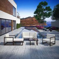 Modway Fortuna 6-Piece Patio Conversation Set in Brown/White