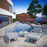 Modway Fortuna 5-Piece Patio Sectional Set in White/Grey