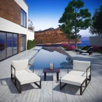 Modway Fortuna 5-Piece Patio Sectional Set in Brown/White