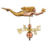 Good Directions Mermaid Weathervane in Copper with Golden Leaf