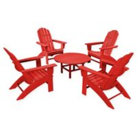 POLYWOOD® Vineyard 5-Piece Oversized Adirondack Patio Conversation Set in Sunset Red