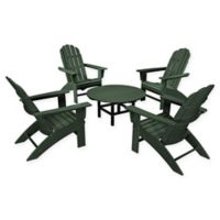 POLYWOOD® Vineyard 5-Piece Oversized Adirondack Patio Conversation Set in Green