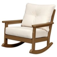 POLYWOOD® Vineyard Deep Seated Rocking Chair with Sunbrella® Cushion in Teak/Beige
