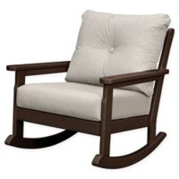 POLYWOOD® Vineyard Deep Seated Rocking Chair with Sunbrella® Cushion in Mahogany/Ash