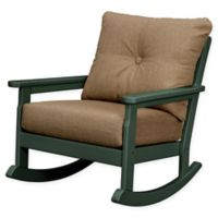POLYWOOD® Vineyard Deep Seated Rocking Chair with Sunbrella® Cushion in Green/Sesame
