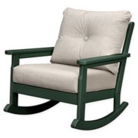 POLYWOOD® Vineyard Deep Seated Rocking Chair with Sunbrella® Cushion in Green/Ash