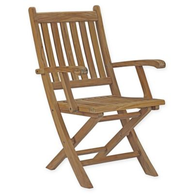 Modway Marina Outdoor Patio Folding Chair In Teak