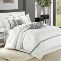 Chic Home Kearney 12-Piece King Comforter Set in White/Silver