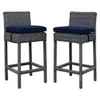 Modway Summon Outdoor Wicker Bar Stools in Sunbrella® Canvas in Navy (Set of 2)