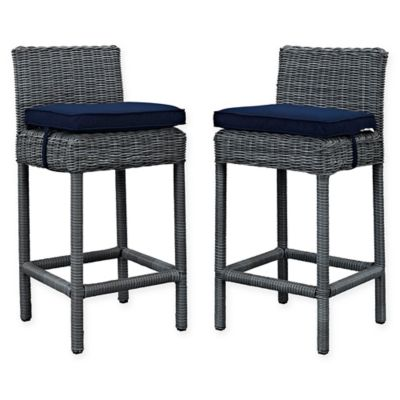 Modway Summon Outdoor Wicker Bar Stools In Sunbrella® Canvas In Navy (Set  Of 2