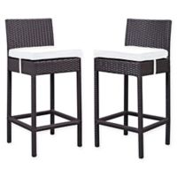 Modway Lift Outdoor Patio Bar Stools in Espresso/White (Set of 2)