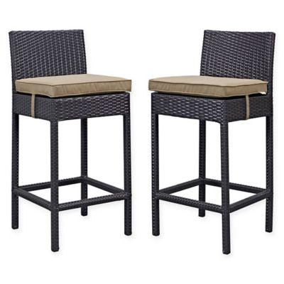 Modway Lift Outdoor Patio Bar Stools In Espresso/Brown (Set Of 2)