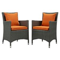 Modway Sojourn Outdoor Patio Dining Armchairs in Espresso/Tuscan