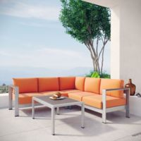 Modway Shore 4-Piece Patio Sectional Set in Silver/Orange