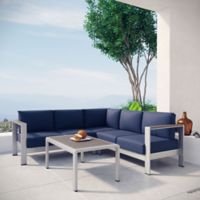 Modway Shore 4-Piece Patio Sectional Set in Silver/Navy