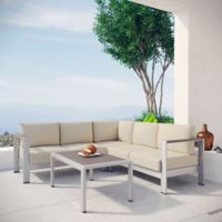 Modway Shore 4-Piece Patio Sectional Set in Silver/Beige