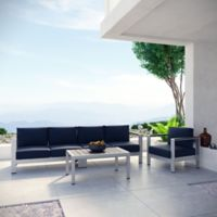 Modway Shore 4-Piece Outdoor Sectional Patio Sofa Set in Navy