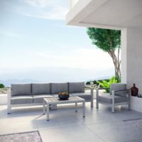 Modway Shore 4-Piece Outdoor Sectional Patio Sofa Set in Grey