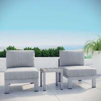 Modway 3-Piece Outdoor Patio Sofa Set in Silver/Grey