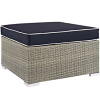 Modway Repose Outdoor Patio Square Ottoman in Light Grey/Navy