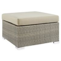 Modway Repose All-Weather Sunbrella® Fabric Patio Ottoman in Grey/Beige