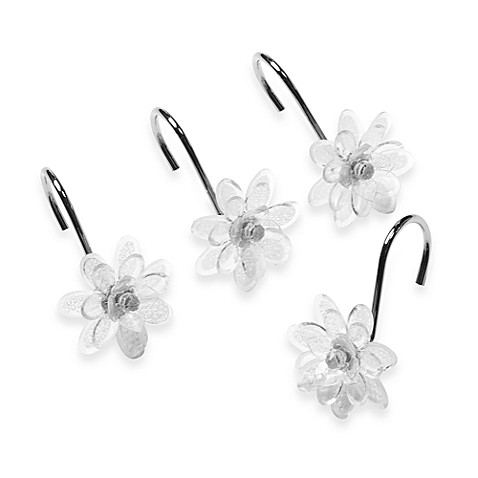 Steve Madden Clear Flower Shower Curtain Hooks (Set of 12)