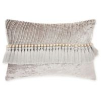 Mina Victory By Nourison Velvet Tassel Oblong Throw Pillow in Grey