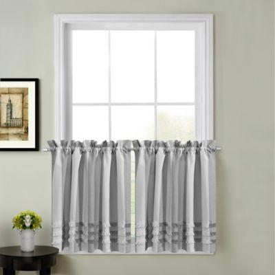 Juliette 45 Inch Kitchen Window Curtain Tier Pair In Grey