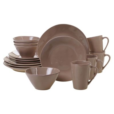 Certified International Harmony 16-Piece Dinnerware Set in Taupe  sc 1 st  Bed Bath u0026 Beyond & Buy Solid Color Dinnerware from Bed Bath u0026 Beyond