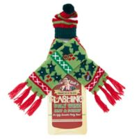 Uncle Bob's Flashing Wine Bottle Holly Hat and Scarf Set in Green