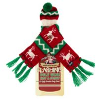 Uncle Bob's Flashing Wine Bottle Reindeer Hat and Scarf Set in Red