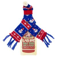 Uncle Bob's Flashing Wine Bottle Snowman Hat and Scarf Set in Blue