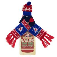 Uncle Bob's Flashing Wine Bottle Christmas Tree Hat and Scarf Set in Blue