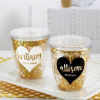 Glitter & Gold Bridal Party 10 oz. Stemless Cup