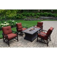 Oakland Living Verona Gas Fire Pit Conversation Set with 4 Rocker Chairs