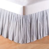 Ticking Ruffle King Bed Skirt in Blue