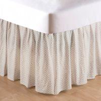 Blair Garden Geometric King Bed Skirt in Tan