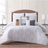 Oceanfront Resort Sun Washed Isle King Comforter Set in White/Grey