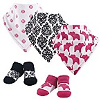 Yoga Sprout 5-Piece Damask Elephant Bandana Bib and Socks Set