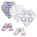 Yoga Sprout 5-Piece Whimsical Bandana Bib and Socks Set in Pink
