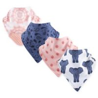 Yoga Sprout 4-Pack Free Spirit Bandana Bib with Teether in Blue