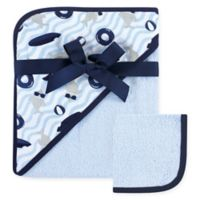 Hudson Baby® Shark 2-Piece Hooded Towel and Washcloth Set in Grey