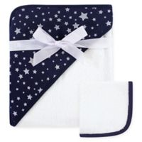 Hudson Baby® Star 2-Piece Hooded Towel and Washcloth Set in Blue